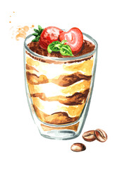 Tiramisu in the glass, Italian traditional sweet dessert. Watercolor hand drawn illustration, isolated on white background