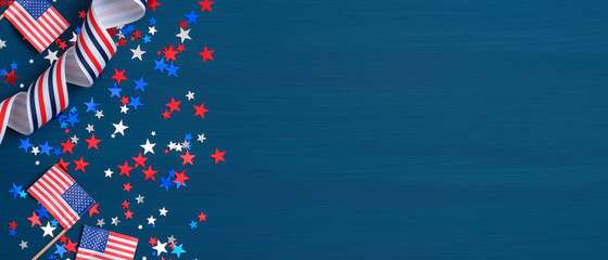 Happy Presidents Day banner with grosgrain ribbon, American flags and confetti stars on blue background. USA Independence Day, American Labor day, Memorial Day, US election concept. Wall mural