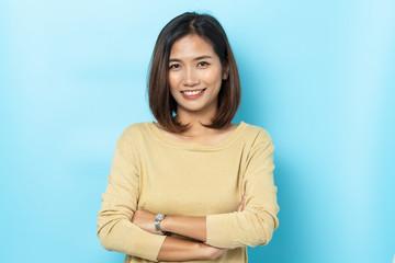portrait woman asian on blue background