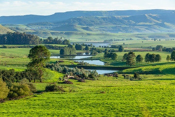Farmlands Mountains Water Catchment Dams Summer Agriculture Scenic Landscape