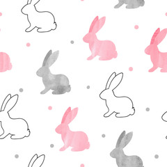 Cute bunny pattern. Seamless vector background with rabbits