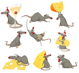Fotobehang Babykamer Vector Illustration of a Cute Cartoon Character Rat for you Design and Computer Game