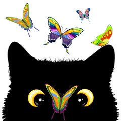 Fotobehang Draw Cat with Butterfly on nose Cute and Naughty Vector Character