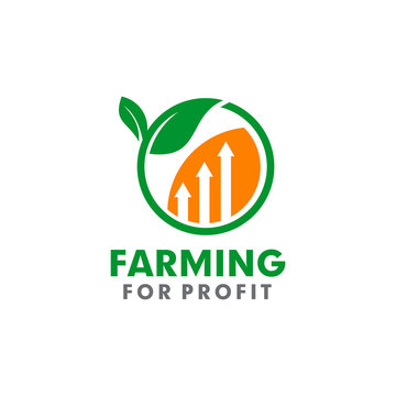 agriculture logo design with leaf and profit icon