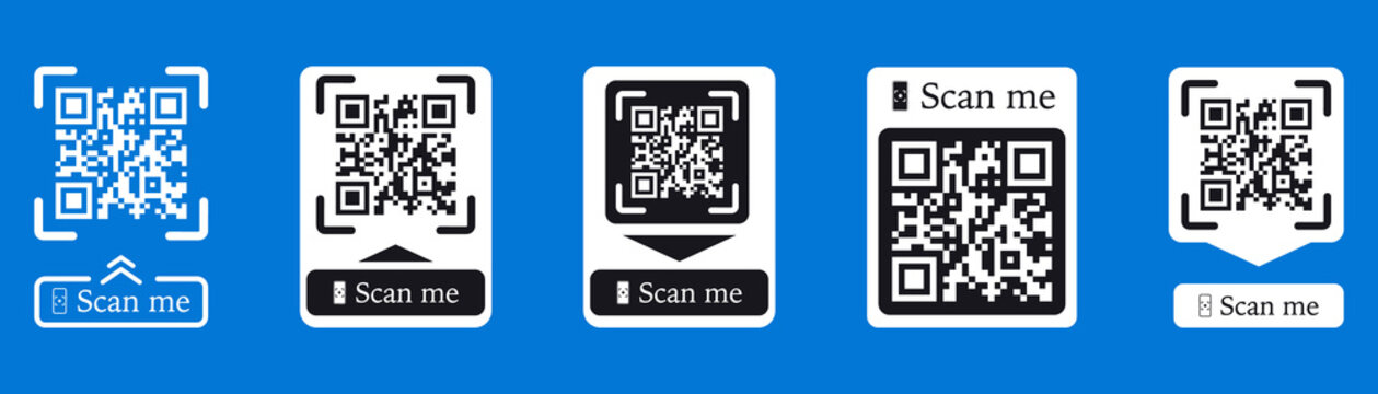 QR code scan for smartphone. Inscription scan me with smartphone icon. Qr code for payment. Inscription scan me with smartphone icon. Qr code for payment. Scan QR code. Vector collection