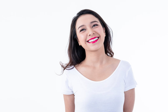 Portrait images of Asian pretty young woman is 25 years old, She is smiling brightly, She has beautiful white and clean teeth, sparking eyes On white background to people and beauty concept.
