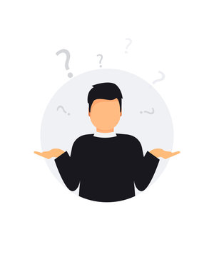 Man doubts. Oops. Sorry. Guy with a question mark. Search solution. I don't know. Man shrugging shoulders, shows helplessly question gesture, spread his hands, he does not know what to do.