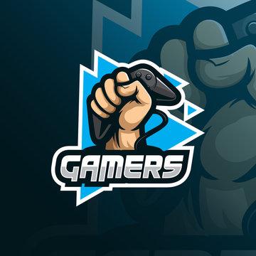 gamer mascot logo design vector with modern illustration concept style for badge, emblem and tshirt printing. gamer illustration for sport team.