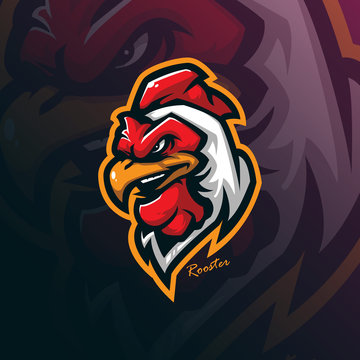 rooster mascot logo design vector with modern illustration concept style for badge, emblem and tshirt printing. angry rooster head illustration for sport team.
