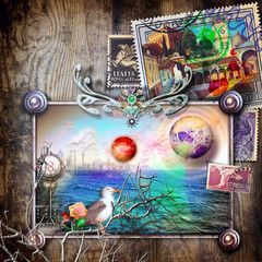 Spoed Foto op Canvas Imagination Fairy tale window with seaside on vintage background with old Italian stamps
