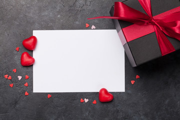 Valentines day card with gift box