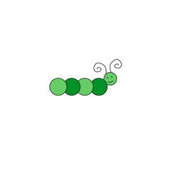 Caterpillar doodle with happy face vector illustration