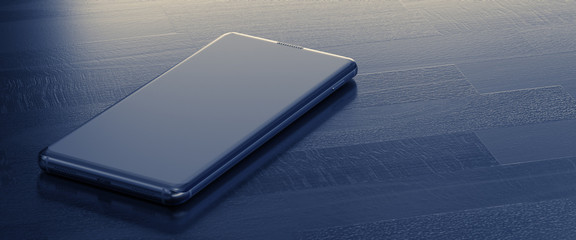 A Smartphone on Wooden Table. Close Up. Top Down View. 3D Render.