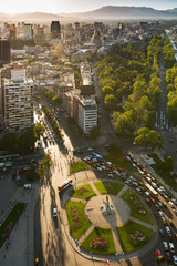 Aerial view of Plaza Baquedano and historic downtown and civic center at Santiago de Chile