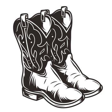 Vintage cowboy boots concept
