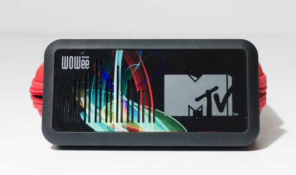 london, england, 05/05/2019 A mtv wowee one portable bluetooth speaker with bass. A retro iconic vintage speaker made by the legendary music channel in america.  travel audio speakers