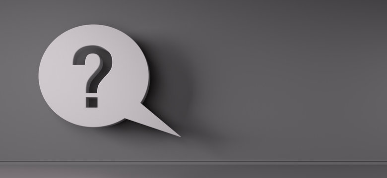 Question mark speech bubble in front of a grey wall - 3D illustration