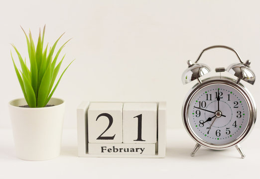 February 21 on a wooden calendar next to an alarm clock and a flower on a white background. The concept of one day a year.Significant date or event
