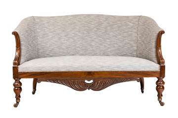 Vintage couch wooden frame carved material upholstery isolated on white
