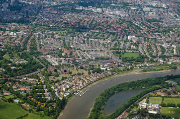 River Thames at Chiswick - aerial view