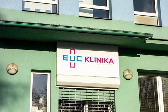 The entrance to the branch of EUC Klinika hospital complex which provides various health care services all around the Czech Republic in many different cities