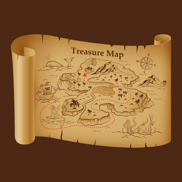 Stylized Pirate Map on Vintage Paper with Treasure on the Island. Pirate Ship, Sea Monsters, Mermaid and Compas. Antique or Old Scroll, Retro Treasure Map. Detail of the Old Geographical Maps of Sea