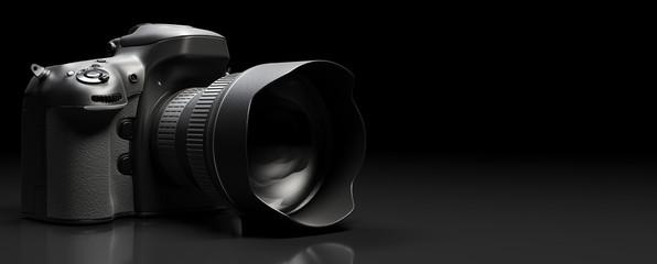 Professional digital camera on black