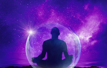 Deurstickers Violet Yoga cosmic space meditation illustration, silhouette of man practicing outdoors at night