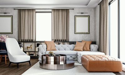 Fototapeta Modern interior design of bright living room with tufted Italian style furniture, gray american clay wall with painting frames, large windows and suspended ceiling, 3d rendering obraz