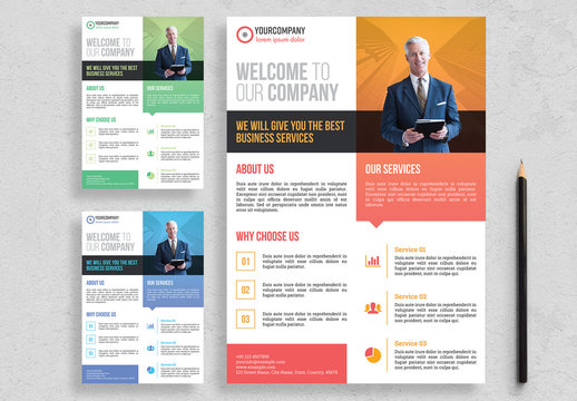 Corporate Flyer Layout with Colorful Accents