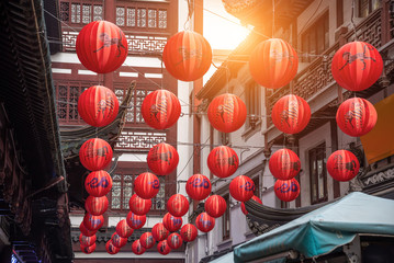 Red traditional paper lanterns with Chinese zodiac pattern Fotoväggar