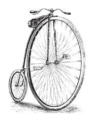 Photo sur Aluminium Old high wheel bicycle / vintage illustration from Brockhaus Konversations-Lexikon 1908