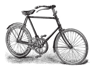 Old bicycle / vintage illustration from Brockhaus Konversations-Lexikon 1908