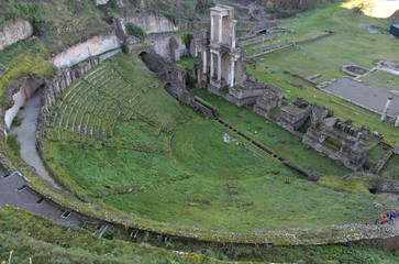 Poster Channel The ancient ruins of the Roman amphitheater in Volterra, Tuscany