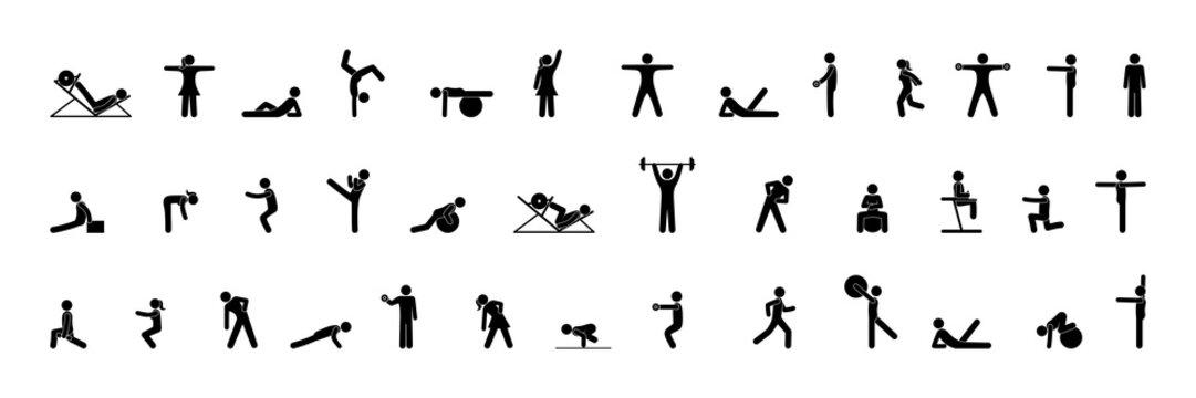 sport icons, silhouettes set, people do gymnastics, gym illustration, stick figure man
