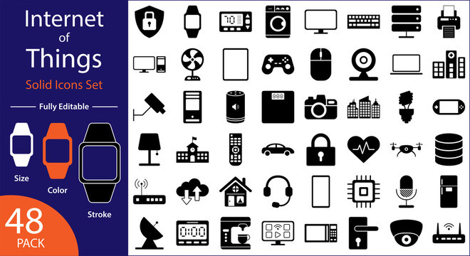 Internet of Things Icons Set - Minimal Flat Vector Solid Icons