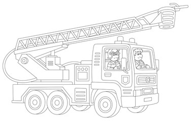 Fire-engine carrying firefighters and equipment for fighting large fires, black and white vector cartoon illustration for a coloring book page