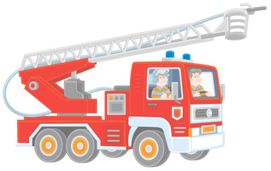 Fire-engine carrying firefighters and equipment for fighting large fires, vector cartoon illustration isolated on a white background