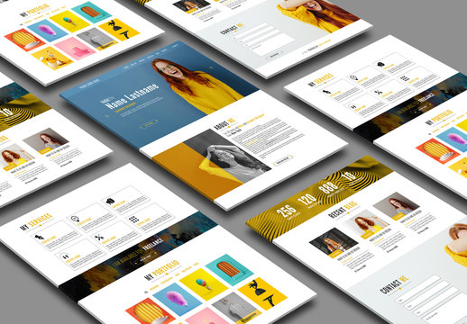 Personal Website Layout with Yellow Accents