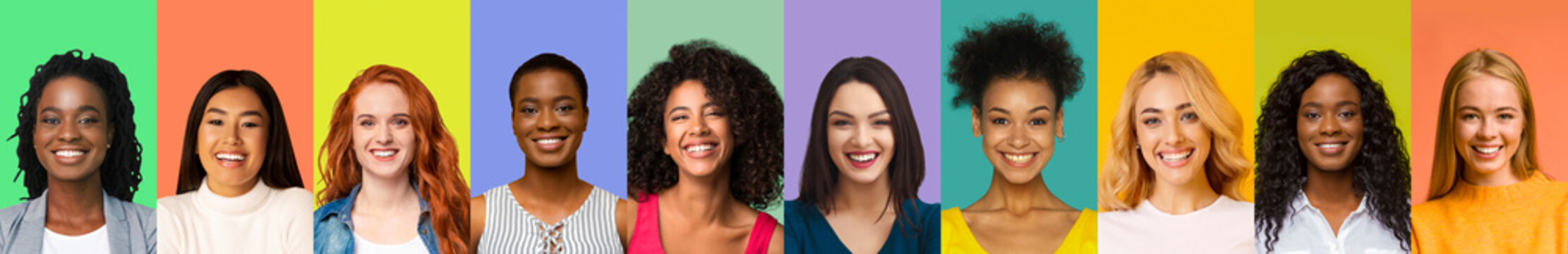 Collage of young international women smiling over colorful backgrounds