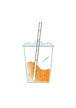 Plastic cup, paper straw