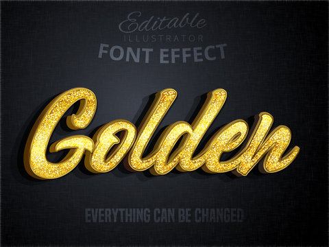 Golden text, editable font effect