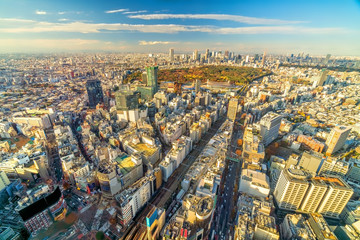 Fotomurales - Top view of Tokyo city skyline at sunset