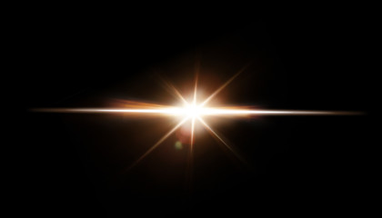 Lens Flare. Light over black background. Easy to add overlay or screen filter over photos. Abstract sun burst with digital lens flare background. Gleams rounded and hexagonal shapes.