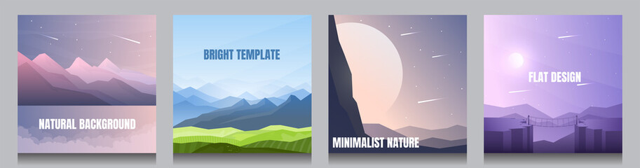 Minimal vector backgrounds set of 4 landscapes. Mountain near water, meadow with hills, sunrise behind rock, moonlight at violet night. Summer scene. UI design elements