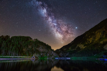 Night  astrophotography. Milky Way  over Pyrenees