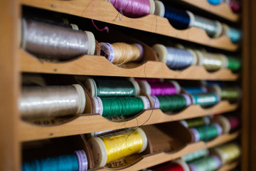 Colorful Spools of Sewing thread Wall mural