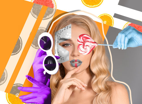 Creative collage with fashionable young woman
