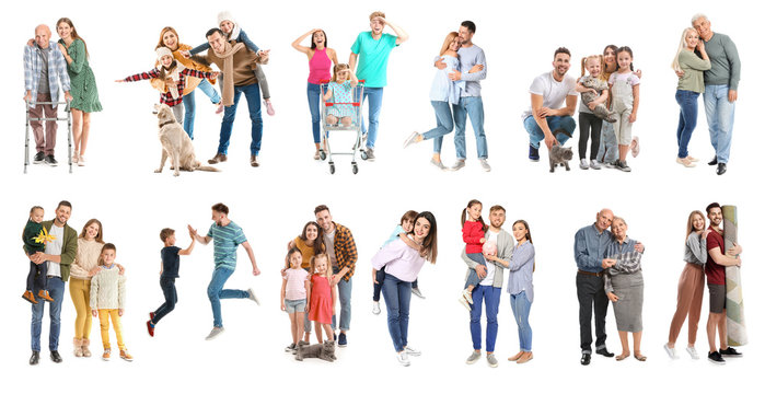 Collage with different people on white background