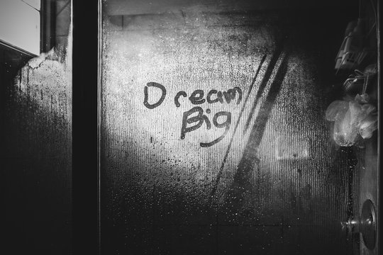 dream big shower writing in steam